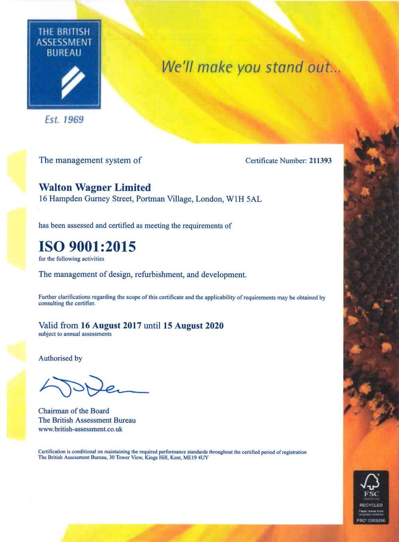 waltonwagner ISO Certificate